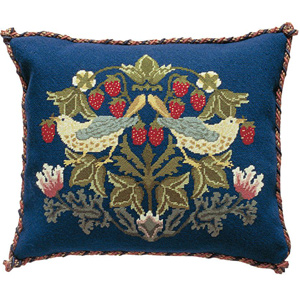 Beth Russell Needlepoint - Strawberry Thief Collection - Strawberry Thief 2 Pillow/Chairseat - Kit
