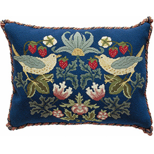 Beth Russell Needlepoint - Strawberry Thief Collection - Strawberry Thief 3 Pillow/Chairseat - Kit