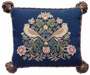 Beth Russell Needlepoint - Strawberry Thief Collection - Strawberry Thief 4 Pillow/Chairseat - Kit