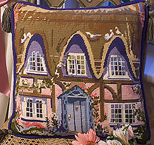The English Thatched Cottage Needlepoint Cushion Kit from The Purple Tree Collection