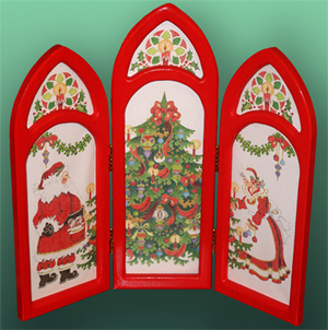 Santa Triptych - 3 Panels - Hand-painted Needlepoint Canvas