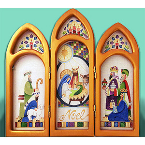 Nativity Triptych - 3 Panels - Hand-painted Needlepoint Canvas