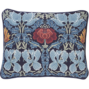 Beth Russell Needlepoint - Tulip & Rose Collection - Pillow/Firescreen - Dark Blue Background - Kit