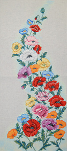 Floral Wall Hanging - Hand-Painted Needlepoint Tapestry Canvas from Trubey Designs