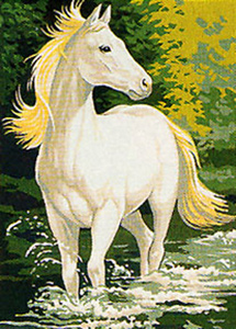 Royal Paris Needlepoint White Stallion Small Canvas 2